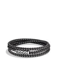 David Yurman - Gray Chevron Triple-wrap Bracelet for Men - Lyst