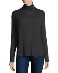 Neiman Marcus | Gray Long-sleeve Ribbed Turtleneck | Lyst
