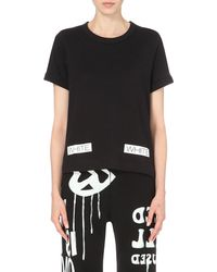 Off-White c/o Virgil Abloh | Black Logo-detail Cotton-jersey T-shirt - For Women | Lyst