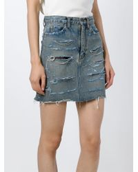 Saint Laurent | Blue Distressed Denim Skirt | Lyst