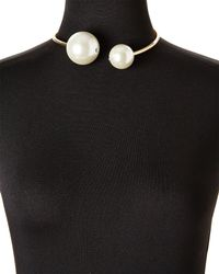 Cara - White Gold-tone Double Faux Pearl Choker - Lyst