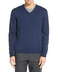 Calibrate - Blue Silk Blend V-neck Sweater for Men - Lyst