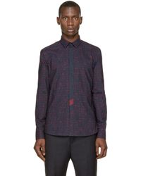 KENZO - Blue Navy Print Tie Shirt for Men - Lyst