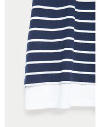 Violeta by Mango | Blue Striped Cotton T-shirt | Lyst