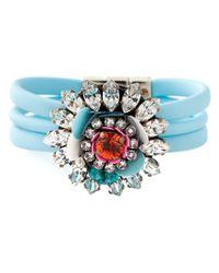 Shourouk - Blue 'Tube' Flower Bracelet - Lyst