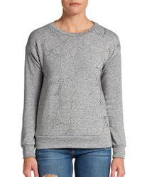 Rebecca Taylor - Gray Embellished Sweatshirt - Lyst