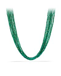 David Yurman | Dy Signature Bead Necklace With Green Onyx In 18k Gold | Lyst
