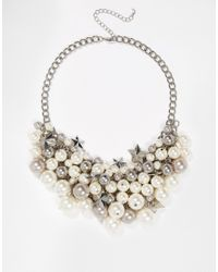 Oasis | Metallic Faux Pearl And Star Cluster Necklace | Lyst