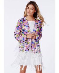 04c626fcb Lyst - Missguided Premium Floral Fringe Detail Kimono