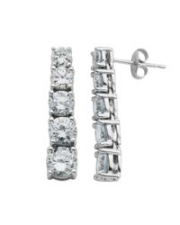 Lord & Taylor | Metallic Sterling Silver Cubic Zirconia Drop Earrings | Lyst