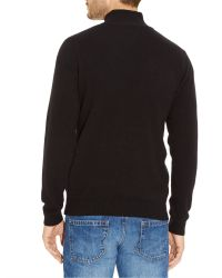 Lacoste - Black Marl Knit Sweater With Zip Collar for Men - Lyst