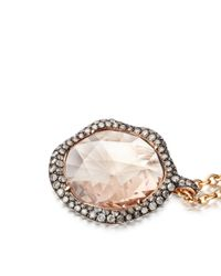 Fao Necklaces Pendants - Pink Grey Diamond Morganite Large Fao Pendant - Lyst