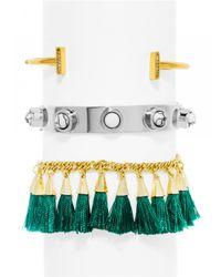 BaubleBar | Green Emerald Bracelet Trio | Lyst