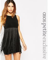 ASOS | Black Dress With Fringe Overlay | Lyst