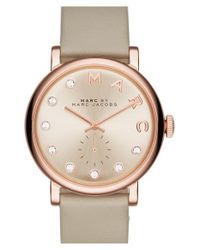 Marc Jacobs - Metallic 'baker' Crystal Index Leather Strap Watch - Lyst