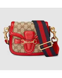 144234268cac Gucci Lady Web Gg Canvas Shoulder Bag in Red - Lyst
