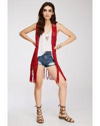 Forever 21 - Red Tasseled Crochet Longline Vest - Lyst