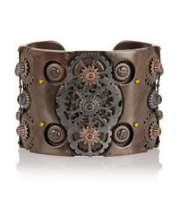 Bottega Veneta | Metallic Oxidized And Rose Gold-Plated Sterling Silver Cuff | Lyst