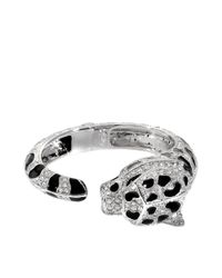 Roberto Cavalli | Metallic Panther Crystals Bracelet | Lyst