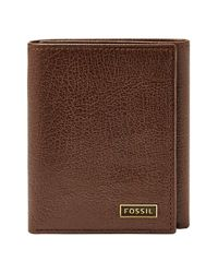 Fossil | Brown 'omega' Leather Trifold Wallet for Men | Lyst