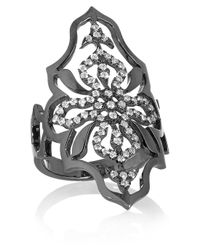 Diane Kordas | Arabesque 18karat Blackened Gold Diamond Ring | Lyst
