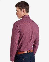 Ted Baker - Red Tight Lines Flower Print Shirt for Men - Lyst