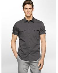Calvin Klein | Gray White Label Classic Fit Textured Square Short Sleeve Shirt for Men | Lyst