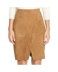 Ralph Lauren - Brown Suede Pencil Skirt - Lyst