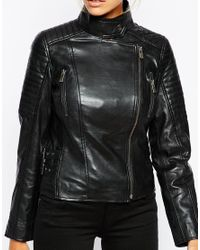 Barneys Originals - Black Leather Biker Jacket With Quilting And Buckle Detail - Lyst