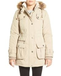 DKNY | Natural Faux Fur Trim Anorak | Lyst