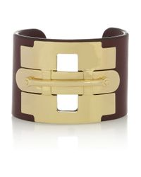 Tod's - Metallic Gold-tone and Leather Cuff - Lyst