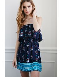 Forever 21 - Blue Flounced Floral Dress - Lyst