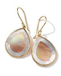 Ippolita | Metallic 18k Gold Polished Rock Candy Mini Teardrop Earrings In Brown Shell/mother-of-pearl | Lyst