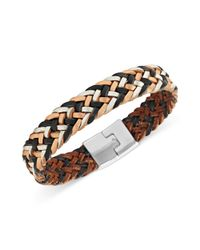 Fossil - Metallic Silvertone Multicolor Braided Leather Bracelet - Lyst