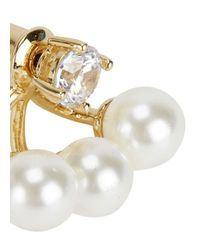 Fallon | Metallic Gold Tone Pearl-embellished Earrings | Lyst