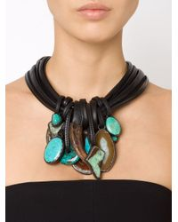 Monies - Blue Stone And Horn Pendant Necklace - Lyst