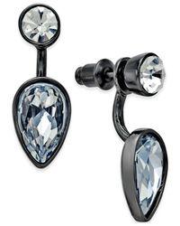 ABS By Allen Schwartz - Gray Hematite-tone Crystal Teardrop Front-back Earrings - Lyst