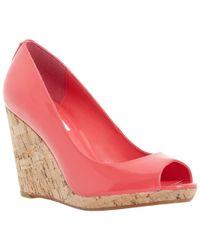 Dune - Natural Celia Cork Wedge Peep Toe Court Shoes - Lyst