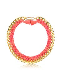 Aurelie Bidermann - Pink Do Brasil Gold And Cotton Necklace - Lyst