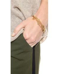 Tory Burch - Metallic Multi Strand Logo Bracelet Shiny Gold - Lyst