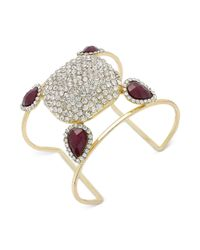 INC International Concepts | Gold-tone Purple Stone And Pavé Crystal Cuff Bracelet | Lyst