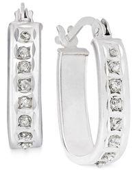 Macy's - Metallic Diamond Accent U-hoop Earrings In Platinum Over Sterling Silver - Lyst