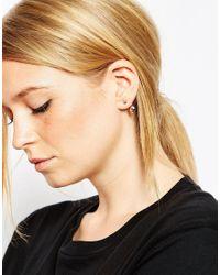 ASOS - Metallic Simple Swing & Stud Earrings - Lyst