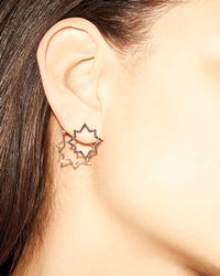 Kismet by Milka - Pink Geometry Black Diamond Star Earring - Lyst