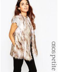 ASOS | Natural Vintage Longline Faux Fur Gilet | Lyst