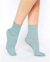 ASOS - Blue Metallic Roll Top Ankle Socks - Lyst
