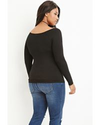 Forever 21 - Black Plus Size Off-the-shoulder Top You've Been Added To The Waitlist - Lyst