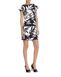 Tahari - Black Floral Shift Dress - Lyst