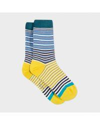 Paul Smith   Blue Women's Navy And Yellow 'mainline Stripe' Socks   Lyst
