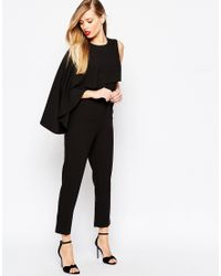 ASOS | Asymmetric Cape Jumpsuit - Black | Lyst